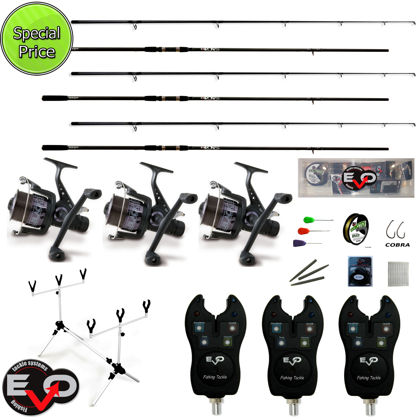carp fishing rods kit 3 evo + 3 iron reels rod pod sounders, Fishing Reels