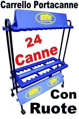 CARRELLO PORTA CANNE DA PESCA CON RUOTE 24 POSTI