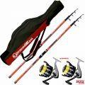 Kit Surf 2 Canne Catcher 420 200 gr + 2 Mulinelli Dayton 6500 + Fodero