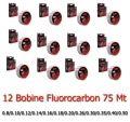 Kit 12 Bobine Monofilo pesca Fluorocarbon 75 Mt 100% invisibile