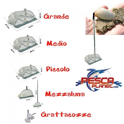 Rastrello Telline Tellinaro Zincato Sacco Nylon Seta 4 Modelli