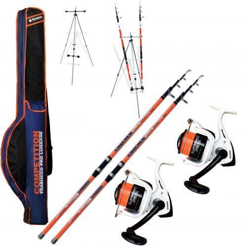 KP4441 - Kit 2 canne Surf Catcher 420 + 2 Mulinello 8000 filo Tripode Fodero Trabucco