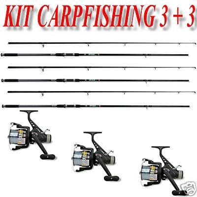 Kit Carpfishing 3 Canna Beater + 3 Mulinelli Free Carp