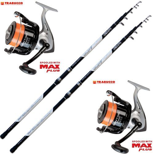 KP2590 - Kit Pesca 2 Canne Surf Long Cast + 2 Mulinello Trabucco Dayton 8000
