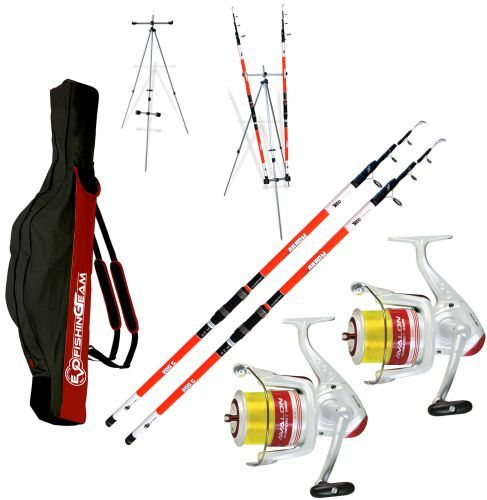 KP3435 - Evo Kit 2 canne Sea Arrow Surf 420 2 Mulinelli Trabucco Fodero Tripode