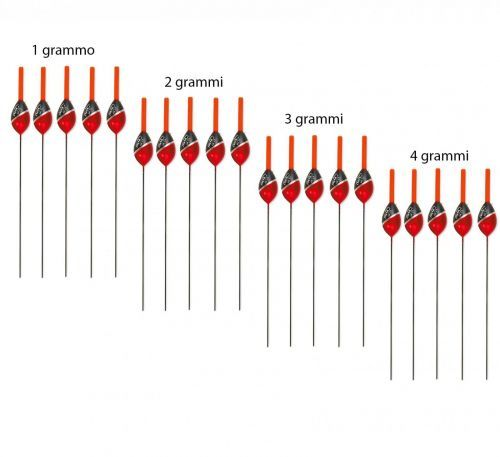 KP3704 - Kit 20 Galleggianti in 4 grammature x pesca mare