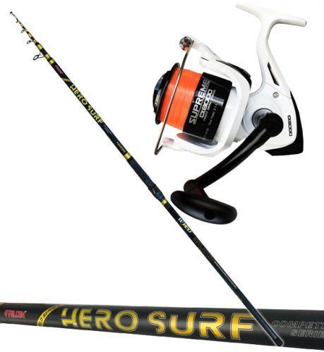 KP4009 - Falcon Canna pesca surf Hero 420 200 gr + Mulinello Evo 8000 filo