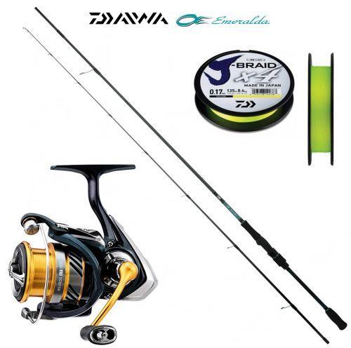 KP4367 - Daiwa Canna pesca Egi Esmeraldas 243 Mulinello Revors Treccia x4